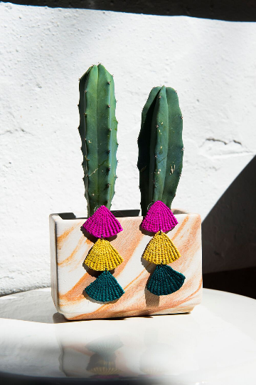 Handmade Woven Junco Boho Earrings / Pink, Yellow, Green - Eye Heart Curated