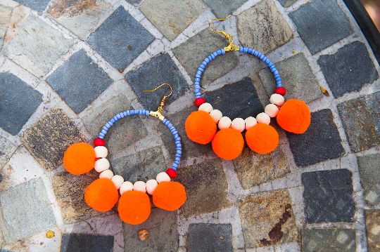 Handmade Beaded Hoop Pom Pom Earrings - Pink&Orange - Eye Heart Curated
