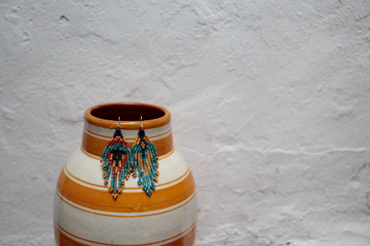 Handmade Ceramic Bead Fringe Earrings - Eye Heart Curated