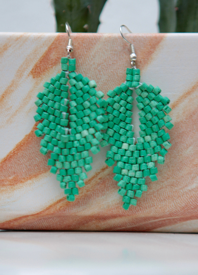 Handmade Ceramic Leaf Earrings - Emerald Green - Eye Heart Curated