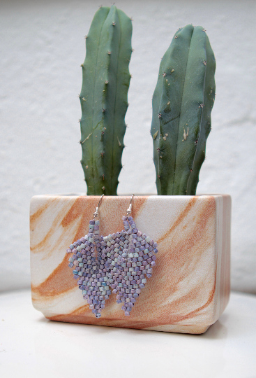 Handmade Ceramic Leaf Earrings - Light Purple - Eye Heart Curated