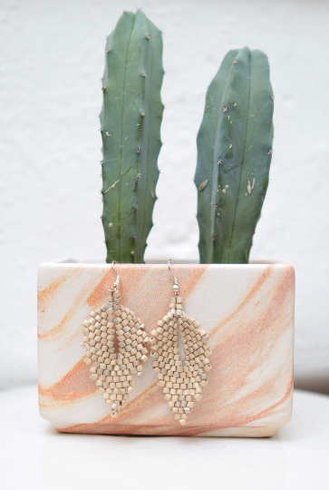 Handmade Ceramic Leaf Earrings - Off-White - Eye Heart Curated