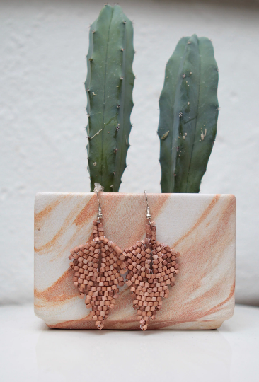 Handmade Ceramic Leaf Earrings - Wood - Eye Heart Curated