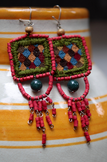 Handwoven Jade Stone Huipil Ceramic Earrings - Eye Heart Curated