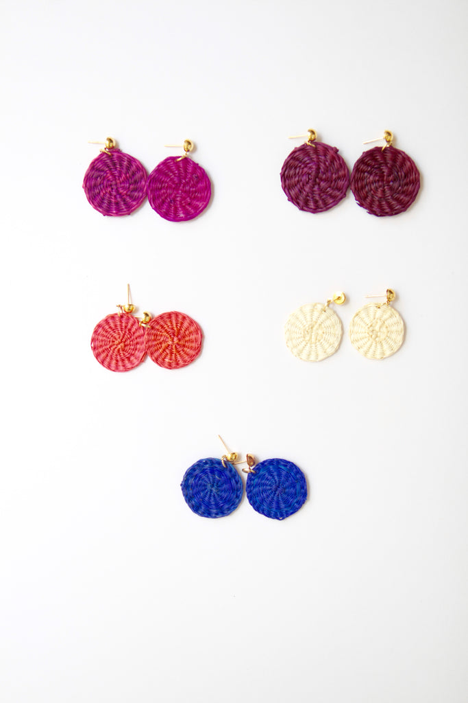 Handmade Woven Junco Boho Earrings - Round, 5 Colors - Eye Heart Curated