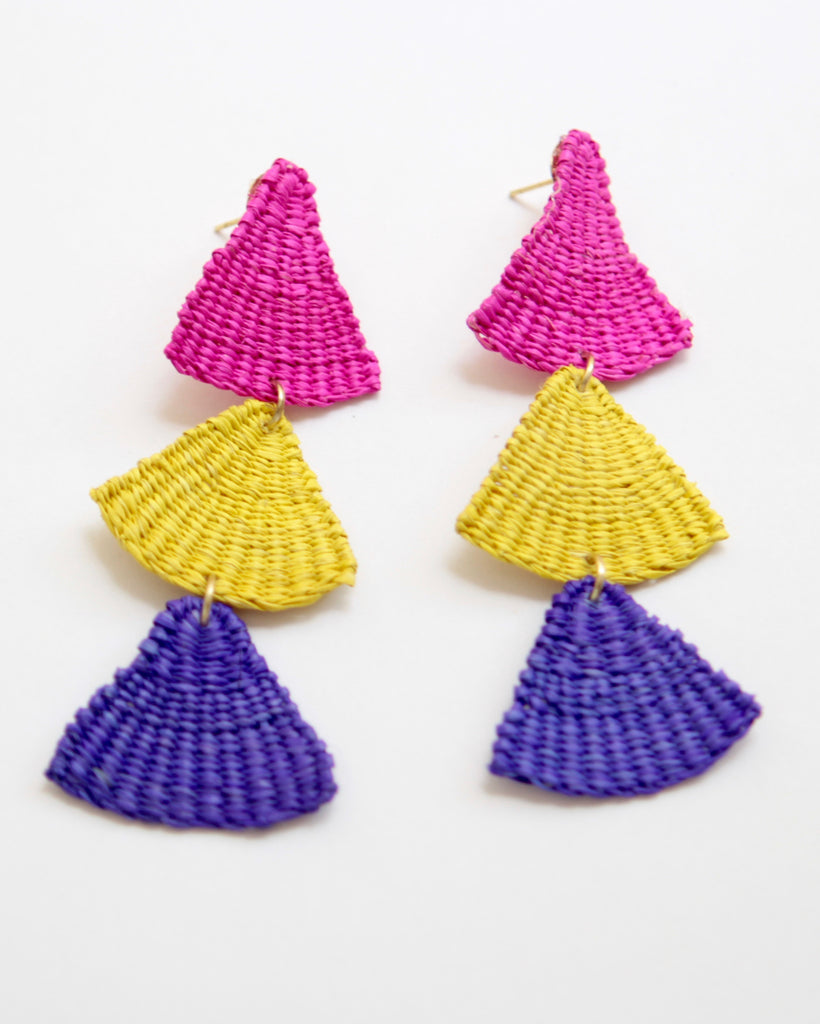 Handmade Woven Junco Boho Earrings - Triple Triangles - Eye Heart Curated