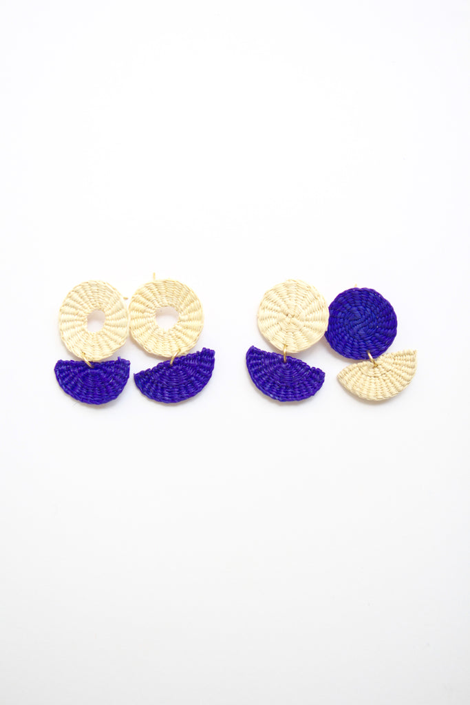 Handmade Woven Junco Boho Earrings - Purple & Off-White - Eye Heart Curated