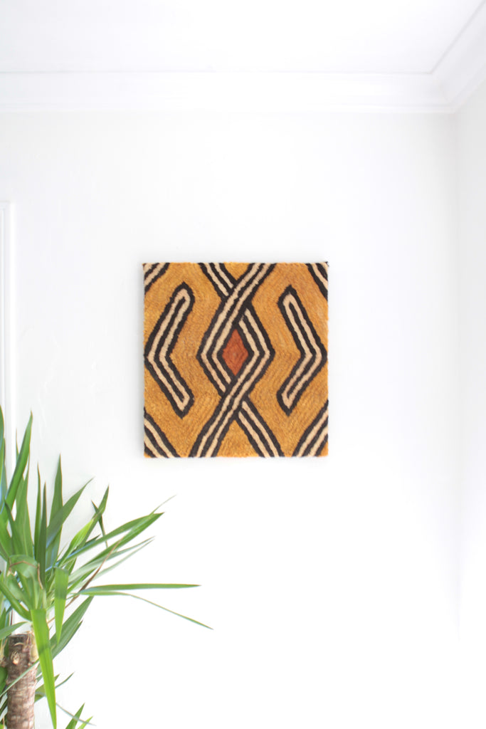 Mounted Vintage Kuba Cloth Wall Hanging - Eye Heart Curated