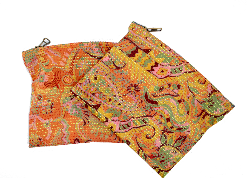 Handwoven Silk Kantha Pouch - Eye Heart Curated