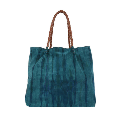 Leather Tie-Dye Tote with Leather Woven Handle