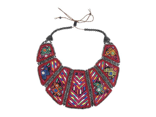 Vintage Huipil Bib Handmade Necklace - Eye Heart Curated