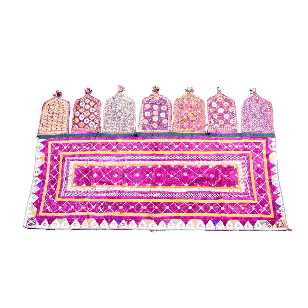 Handwoven Floral Indian Textile Wall Hanging - Eye Heart Curated