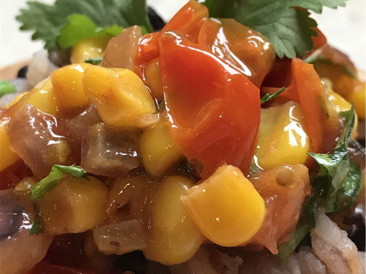 Recipes-Roasted Corn and Tomato Salsa-solar oven recipes