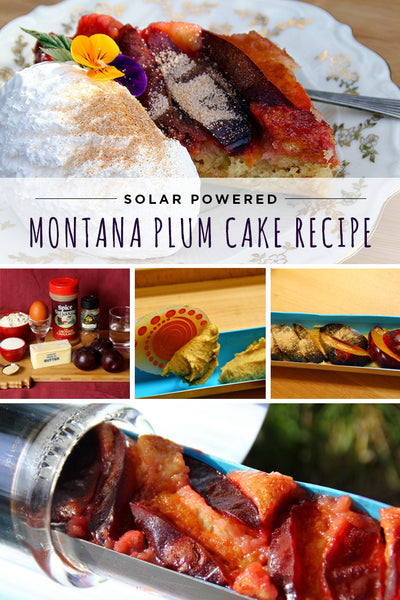 A rich and delicious solar cooked Montana Plum Cake recipe from GoSun Stove.