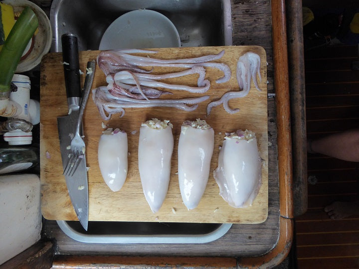 stuffed squid prep