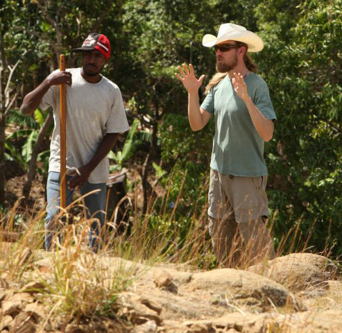 Braden teaching Haitian farmers about Permaculture