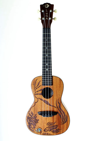 Luna Coral Concert Ukulele with gig bag.