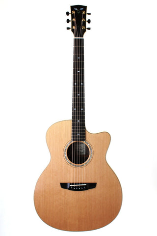 Goodall Cedar/Walnut Concert Jumbo Cutaway, with Ameritage case.