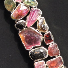 Chunky Silver Bracelet with Raw Tourmalines
