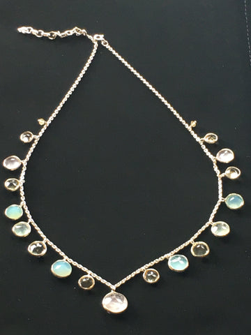 Sterling silver necklace with semiprecious stones