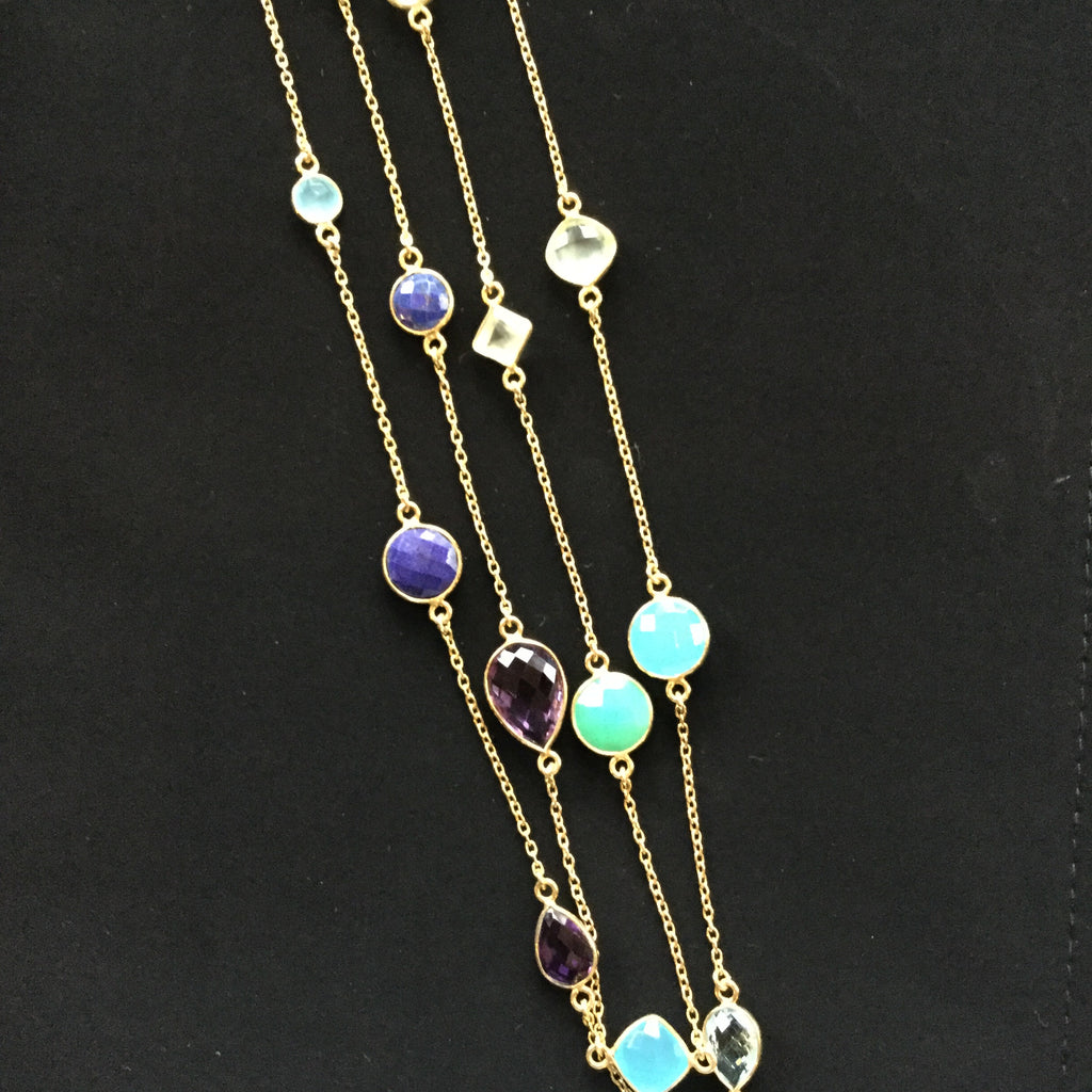 Rodgers gold vermeil long necklace with vibrant semiprecious stones