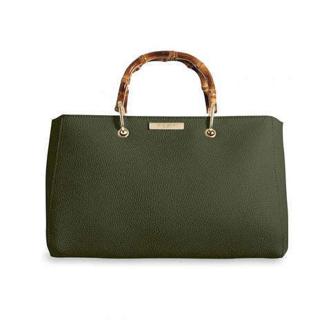 Bamboo Handle Khaki Handbag
