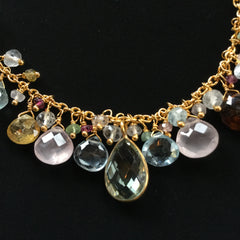 Pomegranate gold plated necklace with natural tourmalines