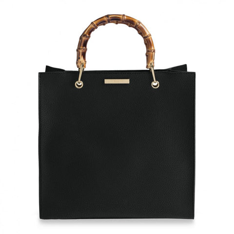 Bamboo Handle Black Handbag