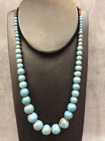 Blue Ceramic Beaded Necklace