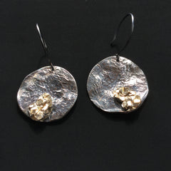 Oxidised Sterling silver and gold plated earrings