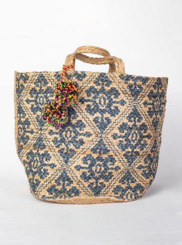 Jute Basket Bag Blue