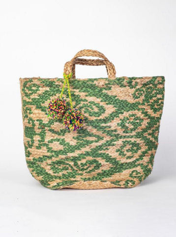 Jute Basket Bag Green