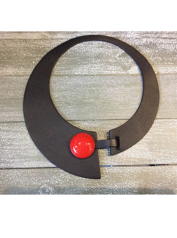 Leather Miro Necklace with Ceramic Button