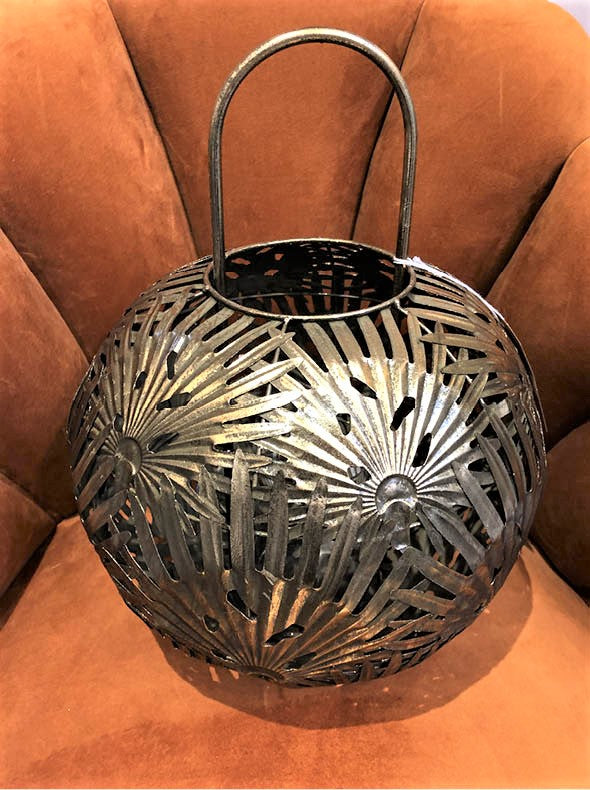 Golden Palms Candle Lantern