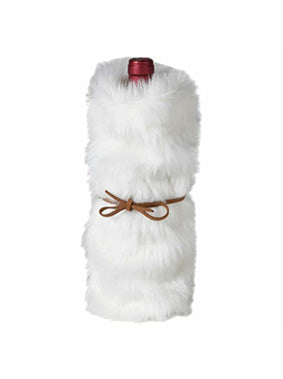 White Fur Bottle Holder