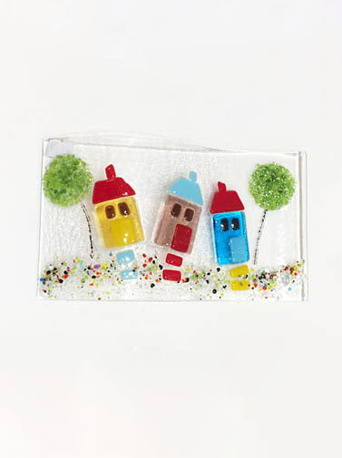 Houses Fused Glass Art