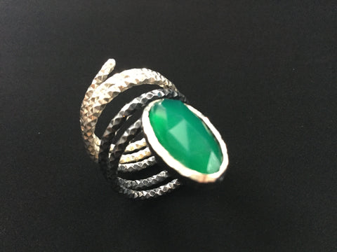 Hand made sterling silver and oxidised silver ring with deep green chalcedony