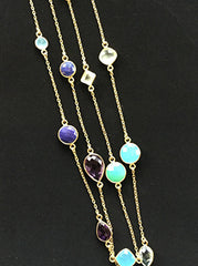 Gold Vermeil Long Necklace with Vibrant Semiprecious Stones