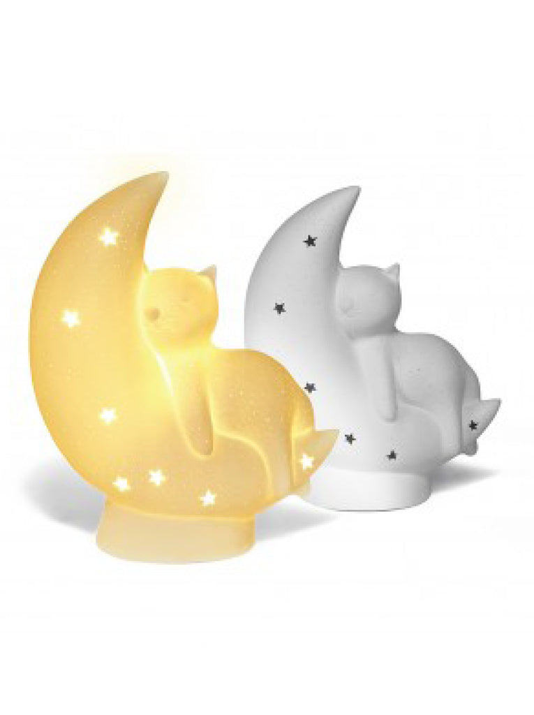 Ceramic Cat on the Moon Lamp