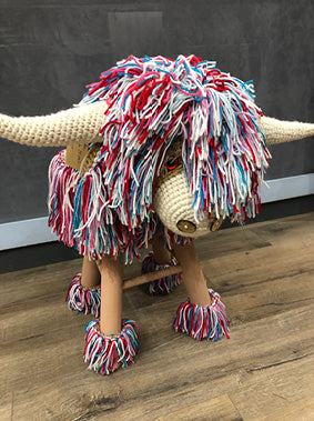 Handmade Crochet Highland Cow Kids Stool