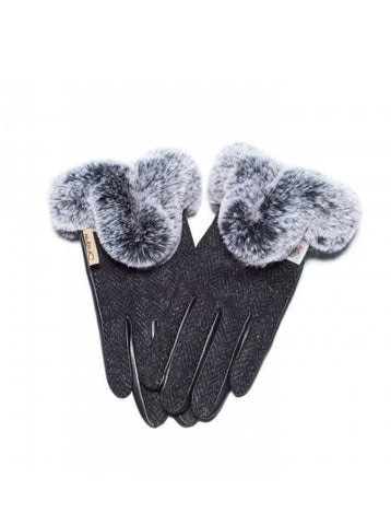 Harris Tweed Black Gloves with Fur
