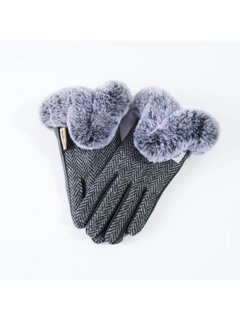Harris Tweed Black and White Gloves with Fur