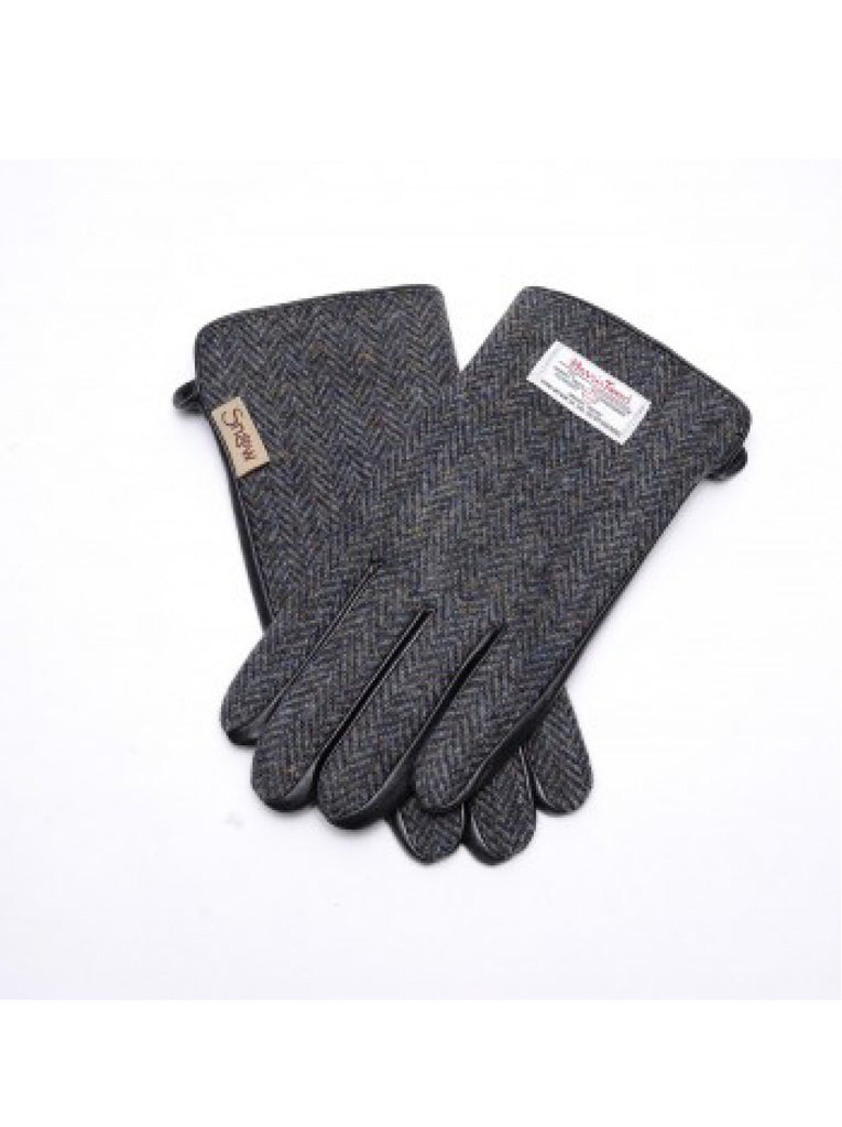 Harris Tweed Black and Grey Herringbone Gloves