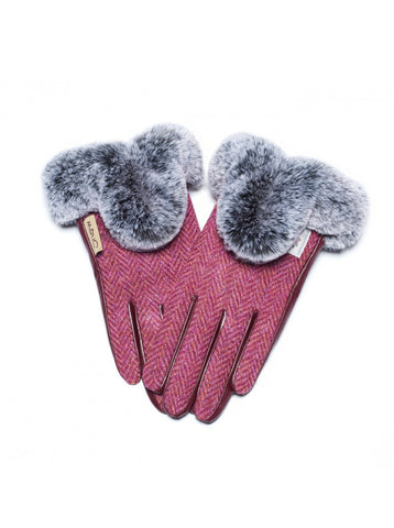 Harris Tweed Gloves with Fur