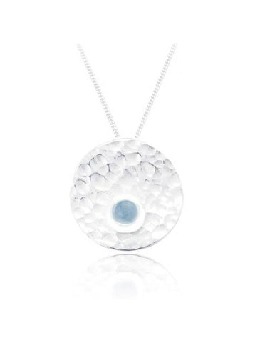 Circle Silver Pendant with Blue Topaz