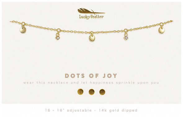 Lucky Feather Dots of Joy Dangle Necklace