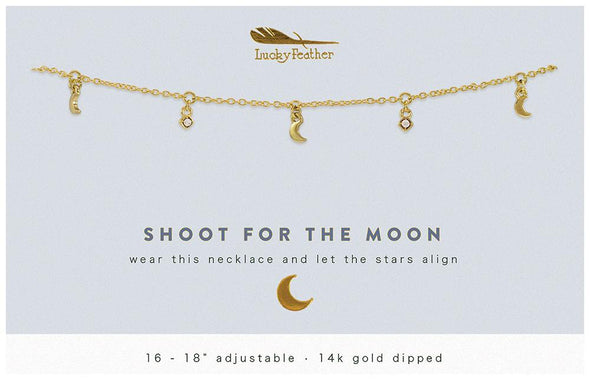Lucky Feather Shoot for the Moon Dangle Necklace