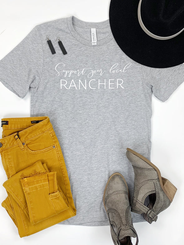 Support Your Local Rancher Tee in Grey