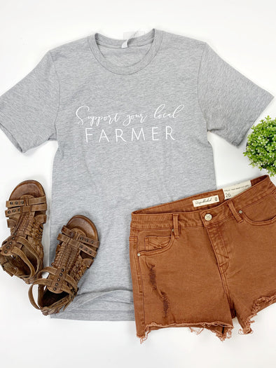 Support Your Local Farmer Tee in Grey