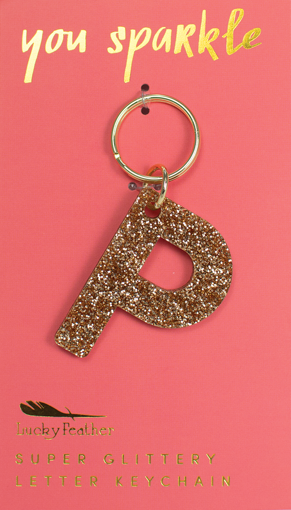 Lucky Feather Glitter Letter Keychain